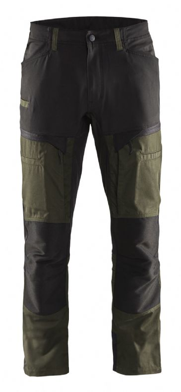 Blaklader 1456 Stretch Service Trousers - 65% Polyester/35% Cotton (Dark Olive Green/Black)